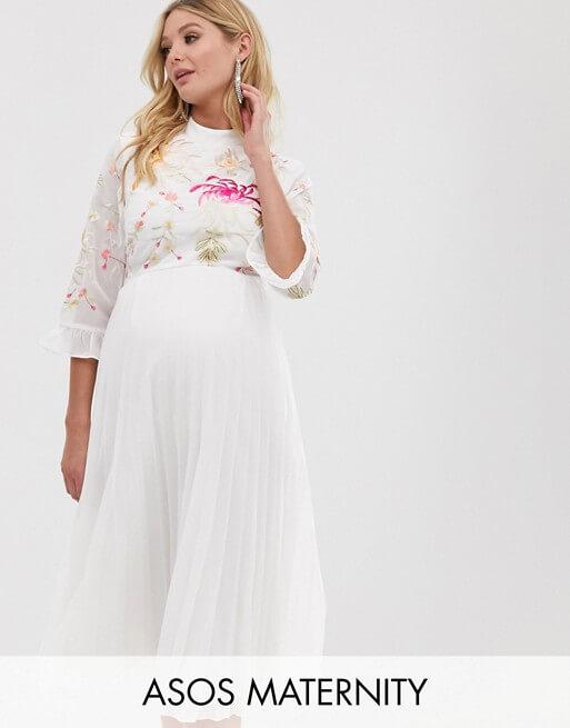 ASOS-Maternity embroidered pleated midi dress