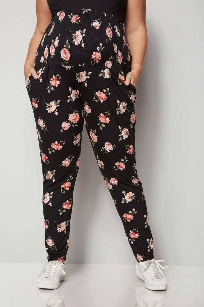 bump it up maternity black floral harem trousers