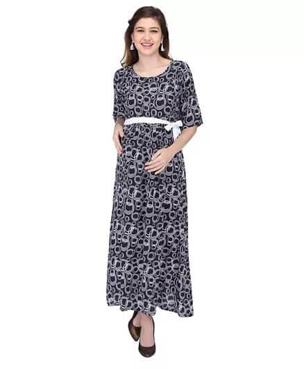 mom to be circle print three fourth sleeve maternity dress