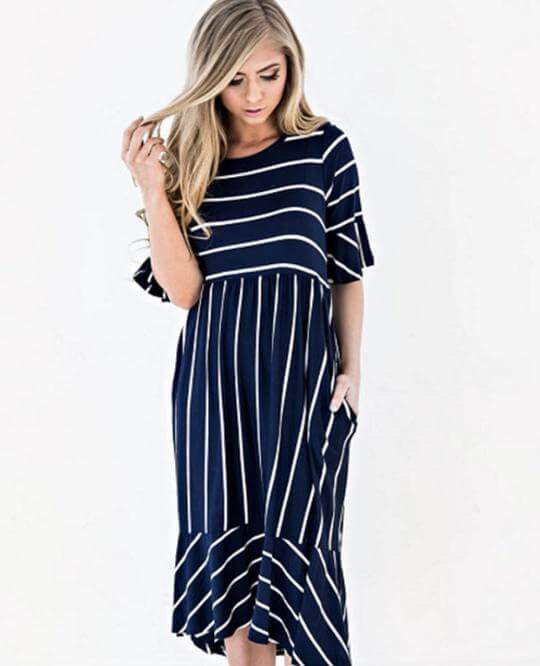 navy blue pinstriped maternity dress